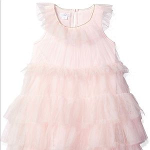 Mudpie Pink Tiered Mesh Ruffle Dress